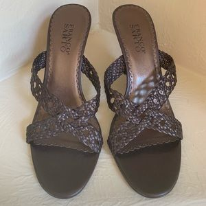 Franco Sarto Brown Braided Leather Sandal Heels